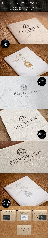 Elegant Paper-press Logo Presentation Mock-up - Logo Product Mock-Ups
