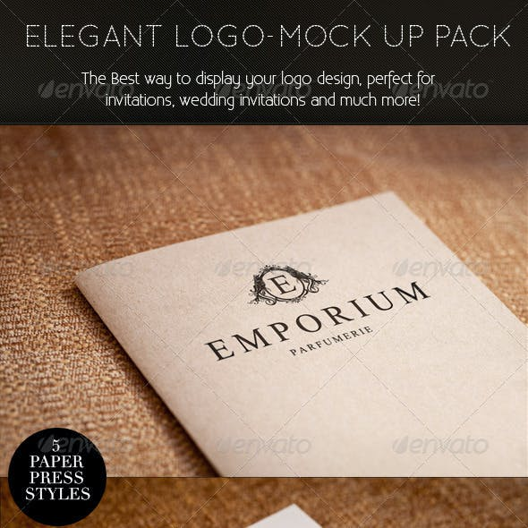 Elegant Paper-press Logo Presentation Mock-up