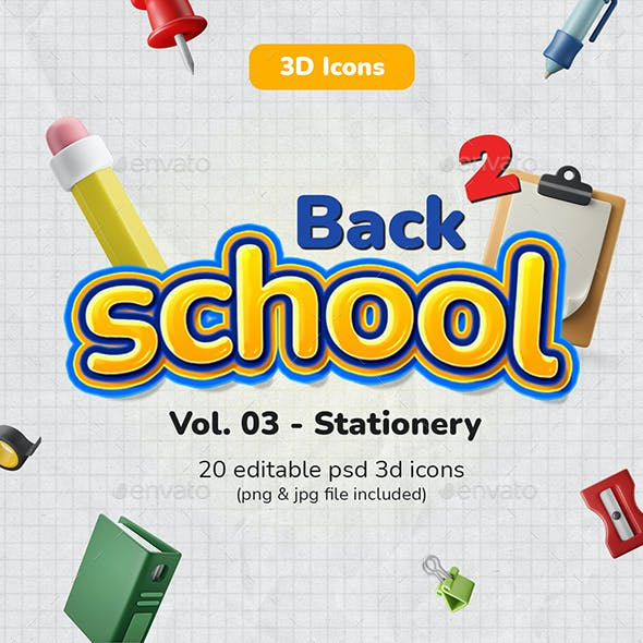 3D Icon Pack - School / Education Vol. 03 - Stationery