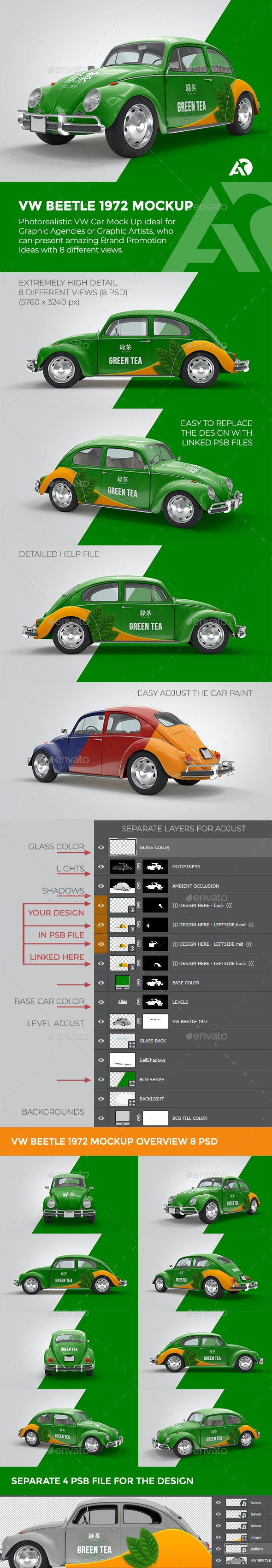 VW BEETLE 1972 Mockup for Brand Promotions - Vehicle Wraps Print