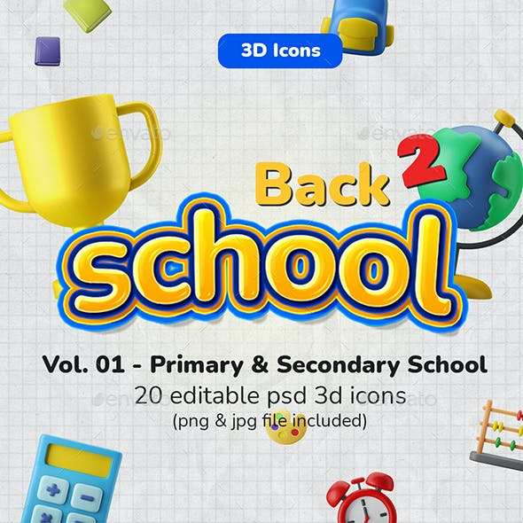 3D Icon Pack - School / Education Vol. 01 - Primary