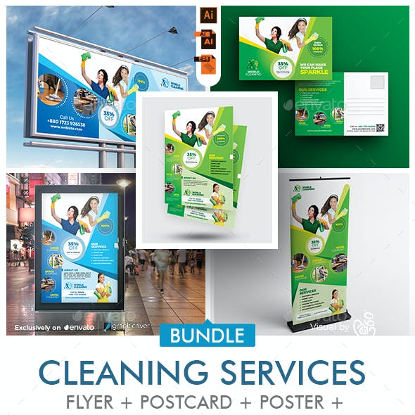 Cleaning Services Promotional Print Template Bundle