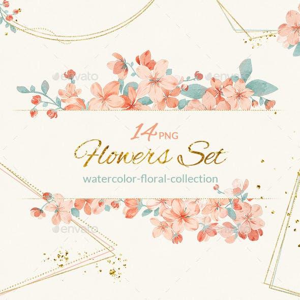 Watercolor Illustrations Flowers Bouquet Clipart PNG set