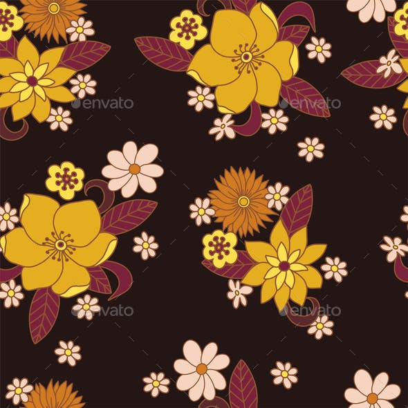 Seamless Pattern with Simple Flowers