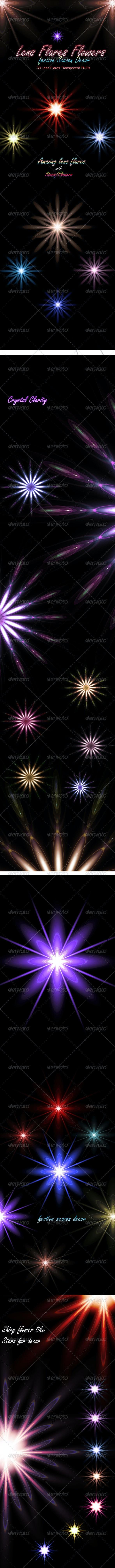 Lens Flares Flowers-2 :  A  Festive Season Decor - Miscellaneous Backgrounds
