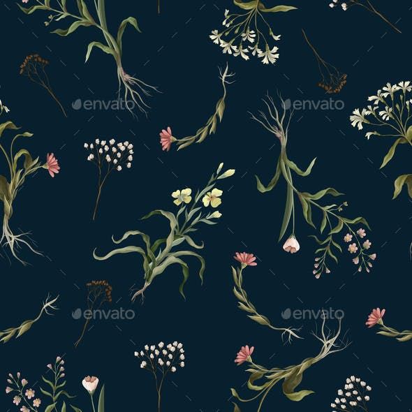 Seamless Pattern with Wild Thin Flowers