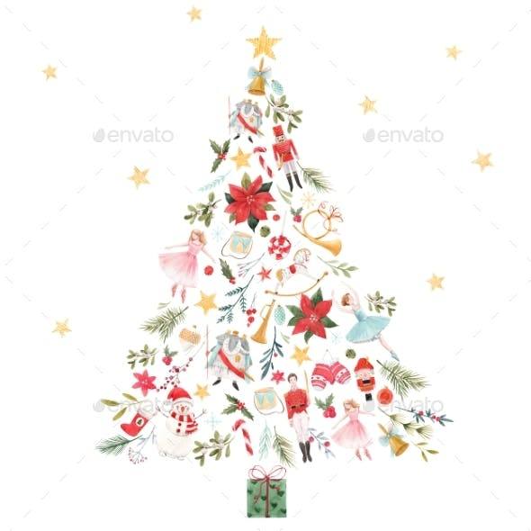 Christmas Abstract Fir Tree with Gifts