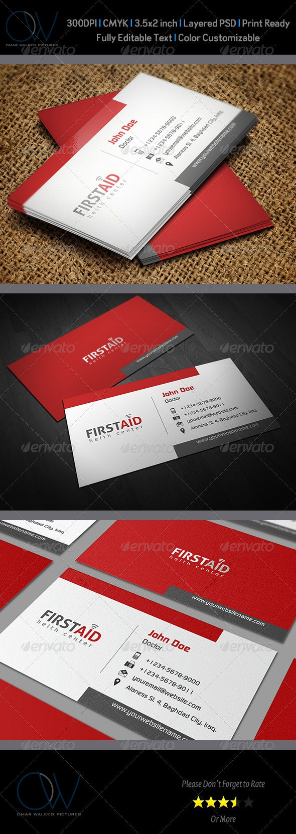 First Aid Business Card - Industry Specific Business Cards