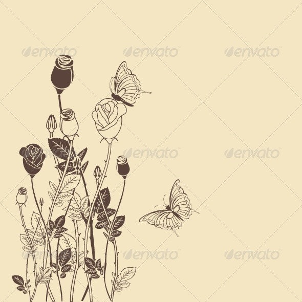 Rose Flower with Butterfly - Flowers & Plants Nature
