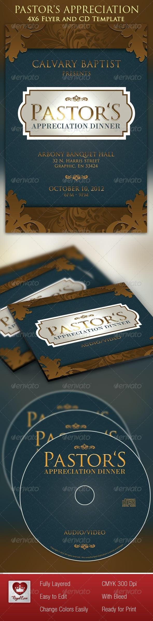 Pastor's Appreciation Dinner Church Flyer and CD  - Church Flyers