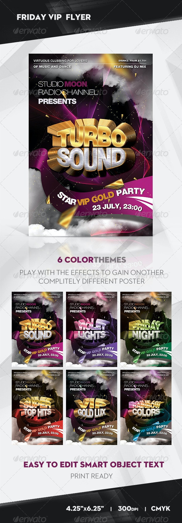 Friday VIP Turbo Sound Party Flyer / Poster - Clubs & Parties Events