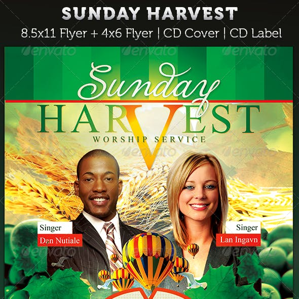 Sunday Harvest: Church Flyer and CD Art Template