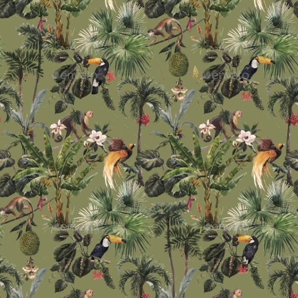 Seamless Tropical Floral Pattern