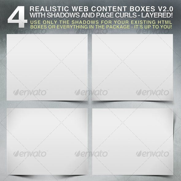 4 Realistic Web Content Boxes, Shadows & Pagecurls