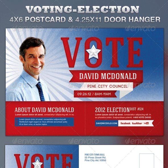 Voting-Election Postcard and Door Hanger Template
