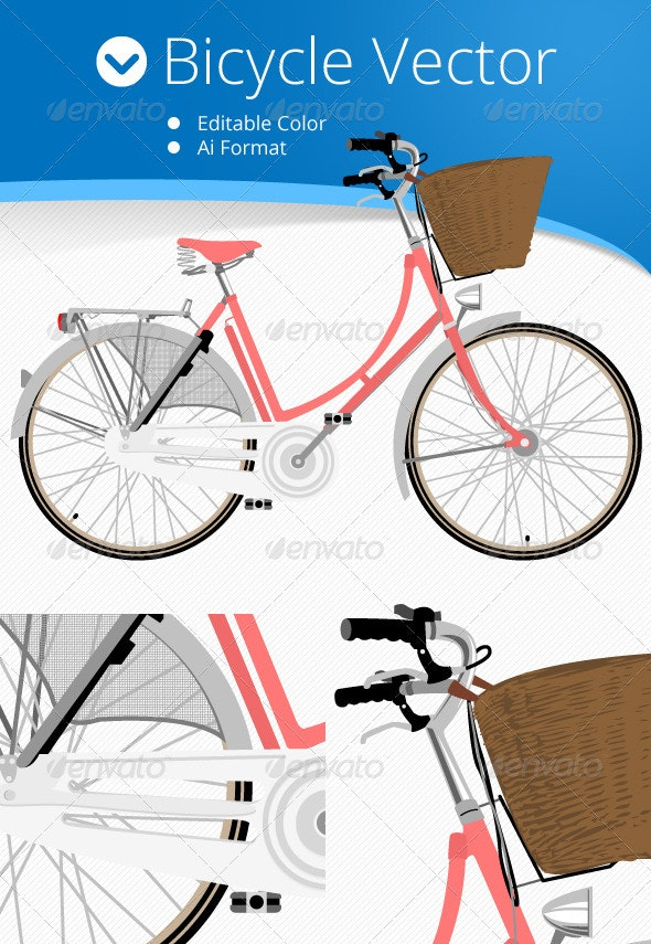 Bicycle Vector Editable Colors - Objects Vectors
