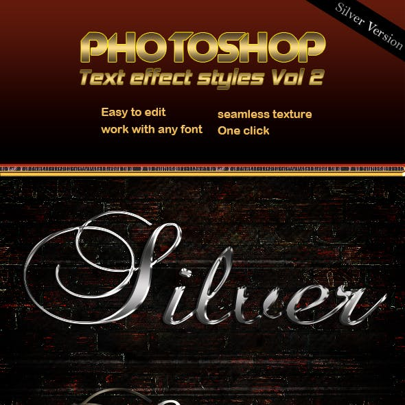 Silver Text Effect Styles Vol 2