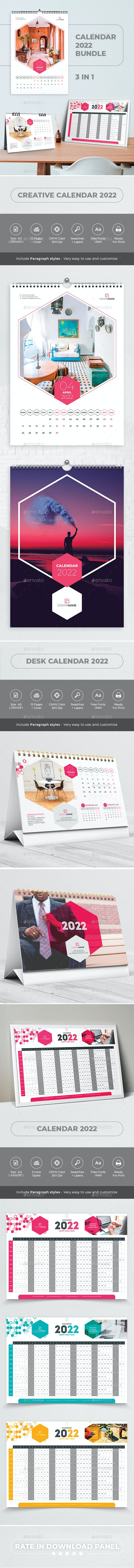 Creative Calendar 2022. Bundle 3 in 1 - Calendars Stationery