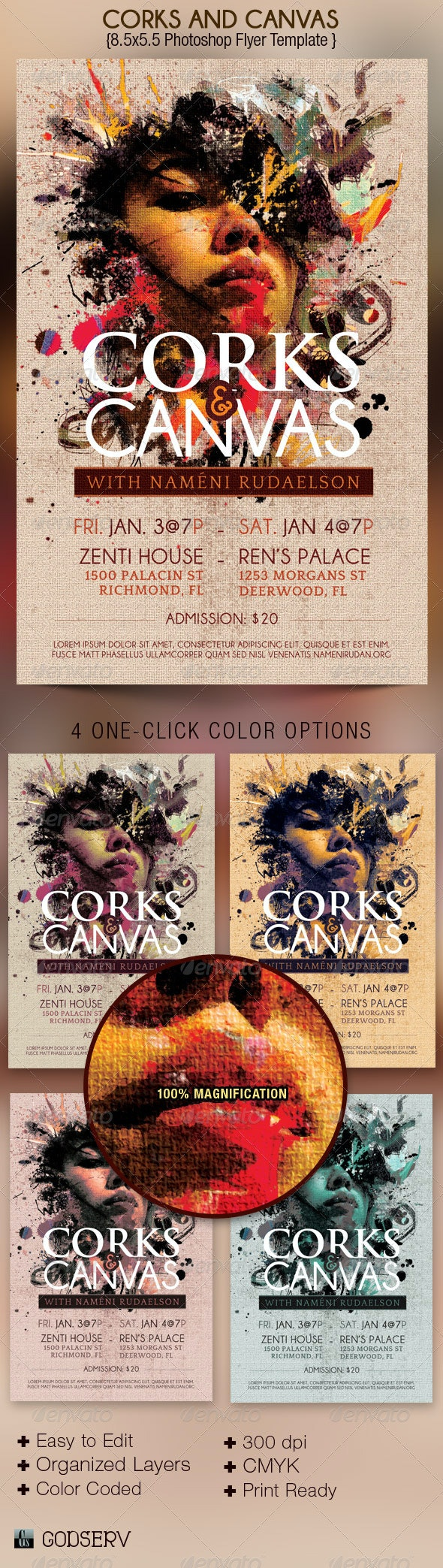 Corks Canvas Art Event Flyer Template - Events Flyers