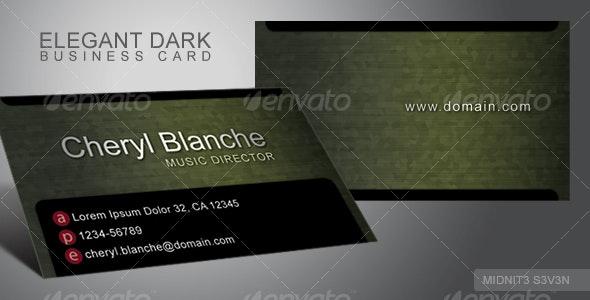 Elegant Dark Business Card #2 - Corporate Business Cards