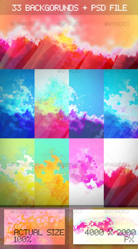 Flames and Water Colorful Watercolor Backgrounds - Abstract Backgrounds