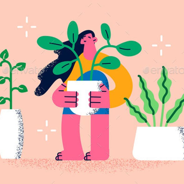 Growing Plants and Home Flowers Concept
