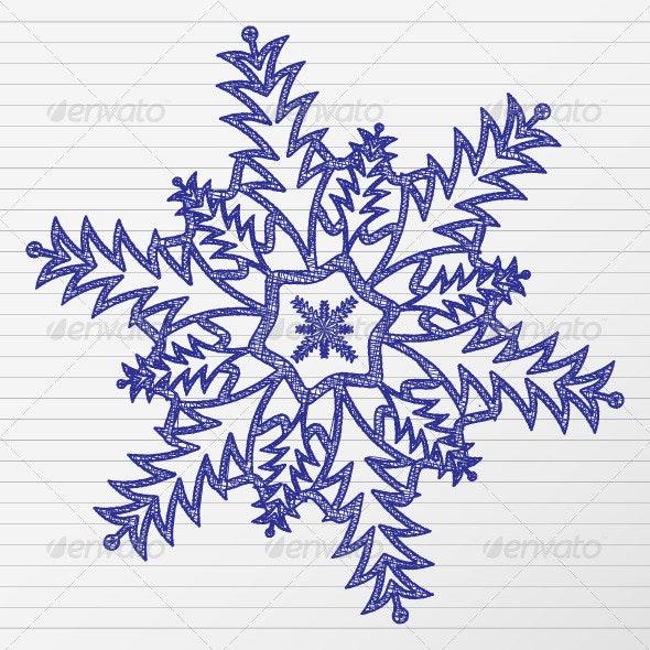 Drawing snowflake - Seasons Nature