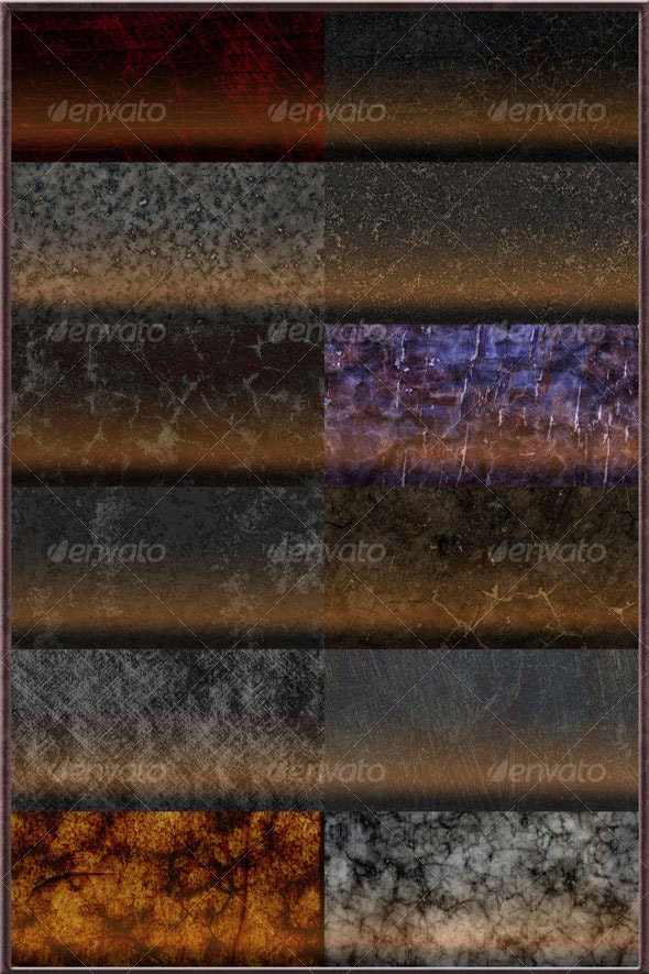 12 Seamless Photoshop Textures/Patterns - Industrial / Grunge Textures