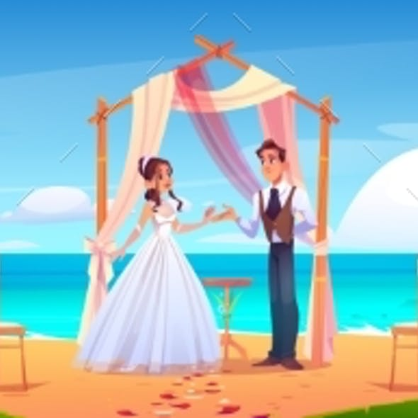 Beach Wedding Ceremony with Newlywed Couple