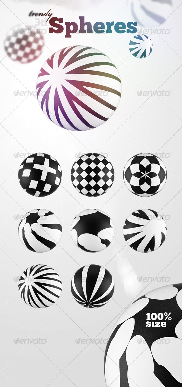 8 Futuristic 3D Spheres - Objects 3D Renders