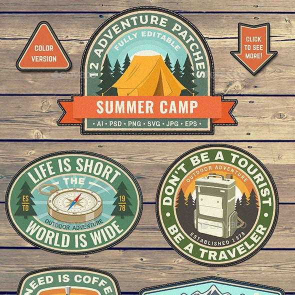 Summer Camp Adventure Patches