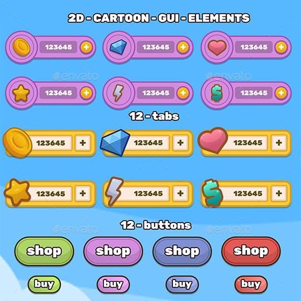 2D flat Cartoon GUI kit