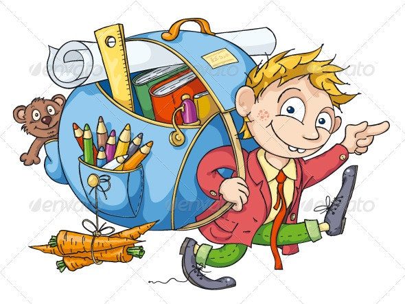 The Boy Goes to School - People Characters