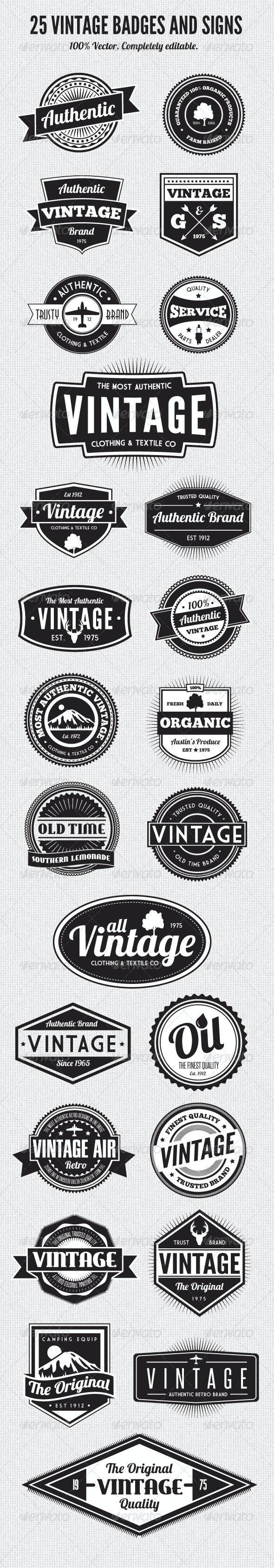 25 Premium Retro Style Vector Badges - Web Elements Vectors