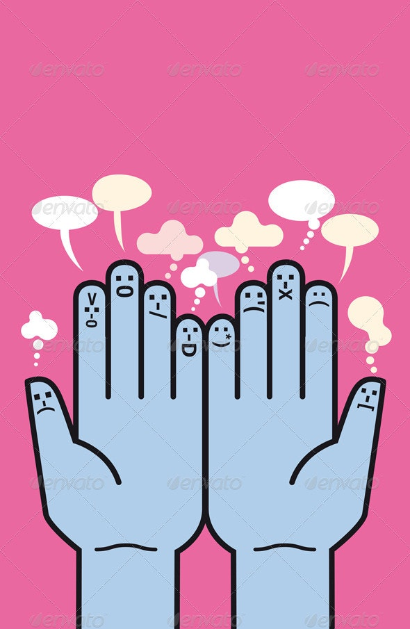 Hands and Emoticons - Concepts Business