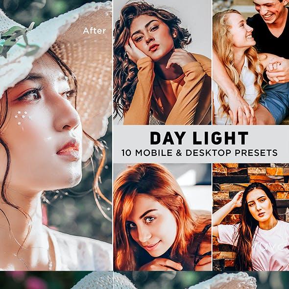 10 Lightroom Desktop and Mobile Presets. Day Light.