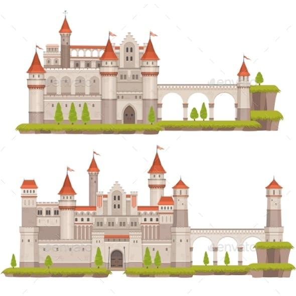 Cartoon Medieval Fairytale Castle with Towers