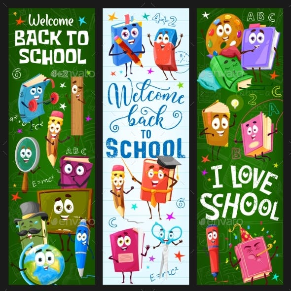 Back to School Banners with Books and Stationery
