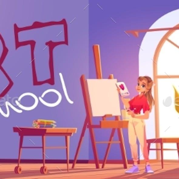 Art School Cartoon Banner