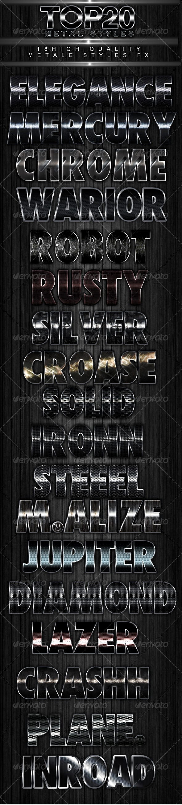 Top 18 metal styles - Photoshop Add-ons