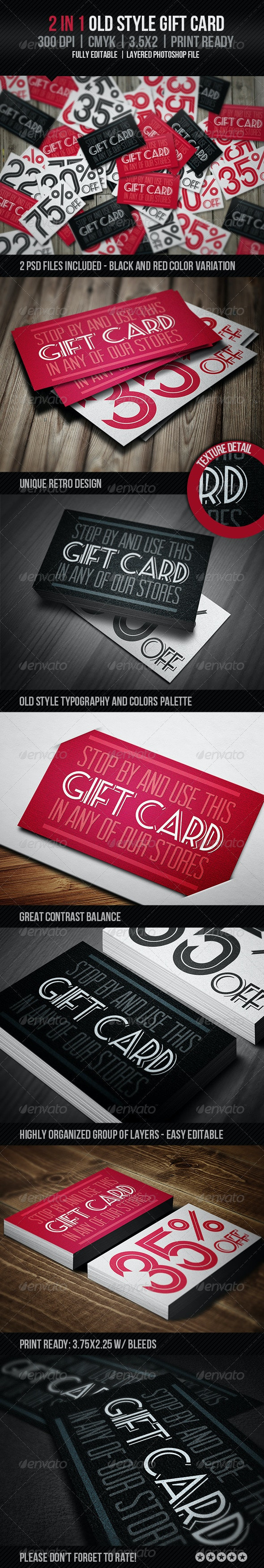 Old Style Gift Card - Cards & Invites Print Templates