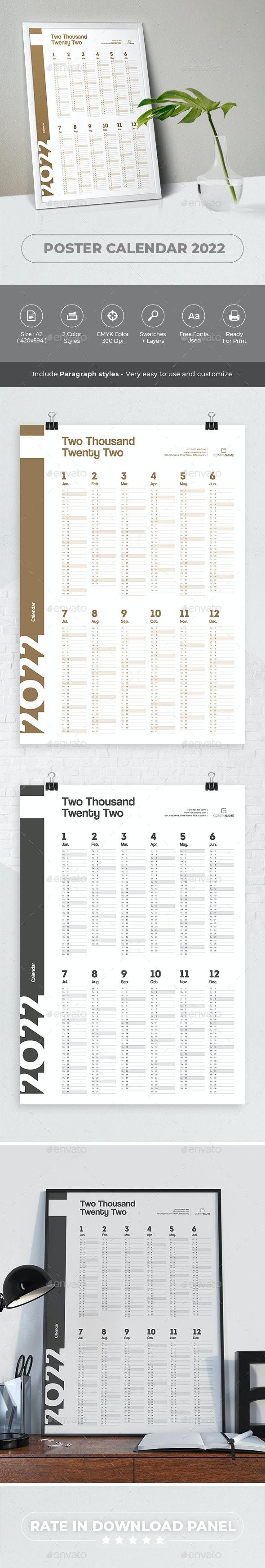 Calendar 2022 Poster - Calendars Stationery