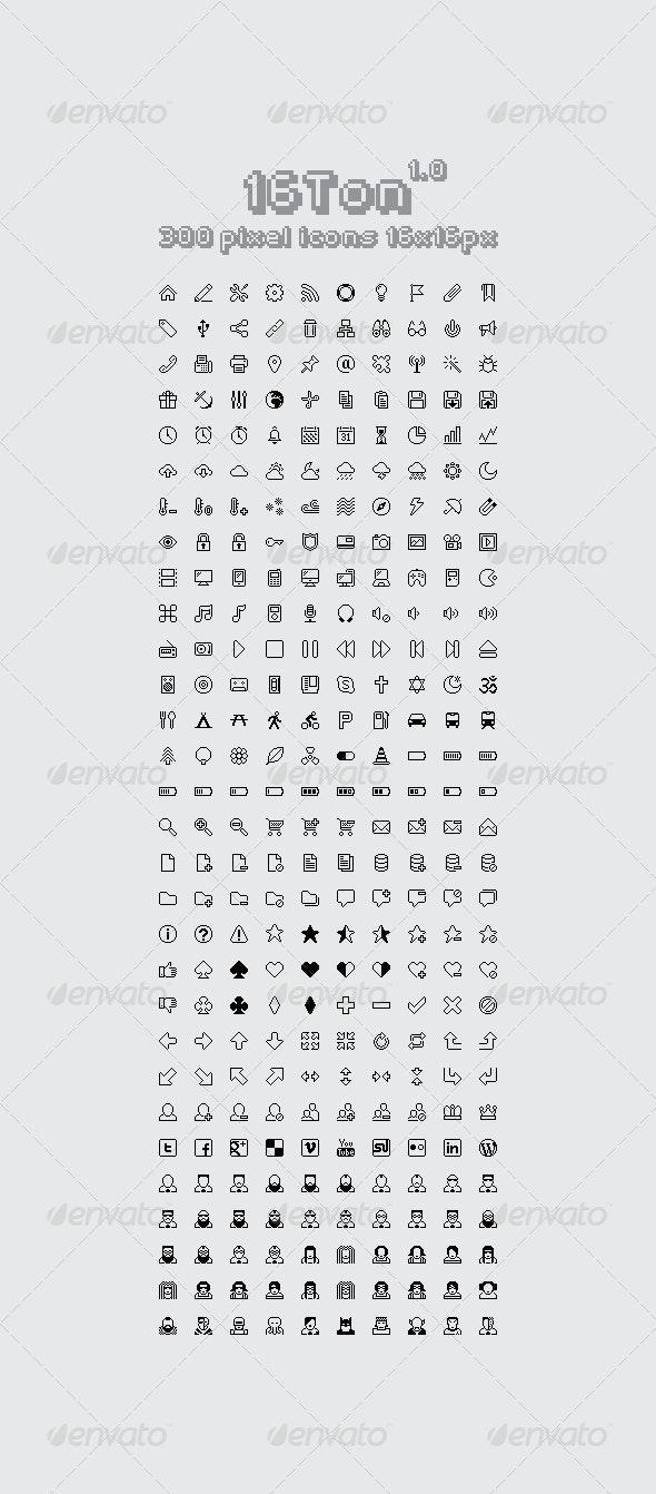 16 Ton - 300 pixel icons 16x16px - Web Icons