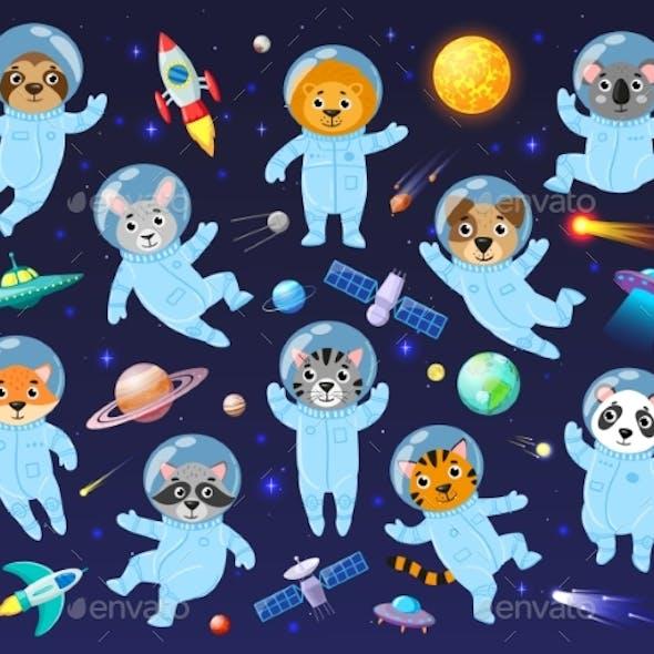 Cartoon Space Cosmonaut Animals Cute Animal