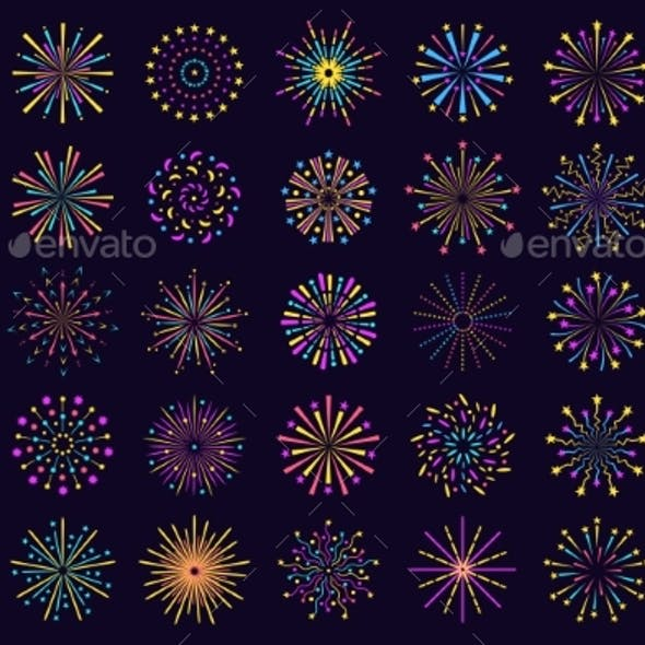 Colorful Fireworks Icon Abstract Festive