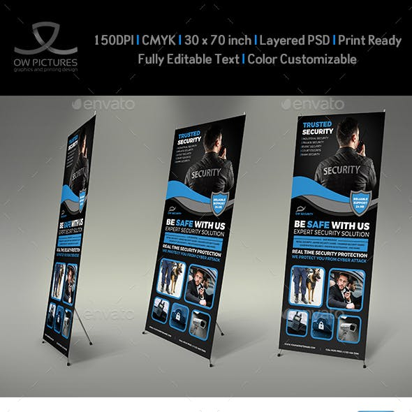 Security Services Signage Banner Roll Up Template