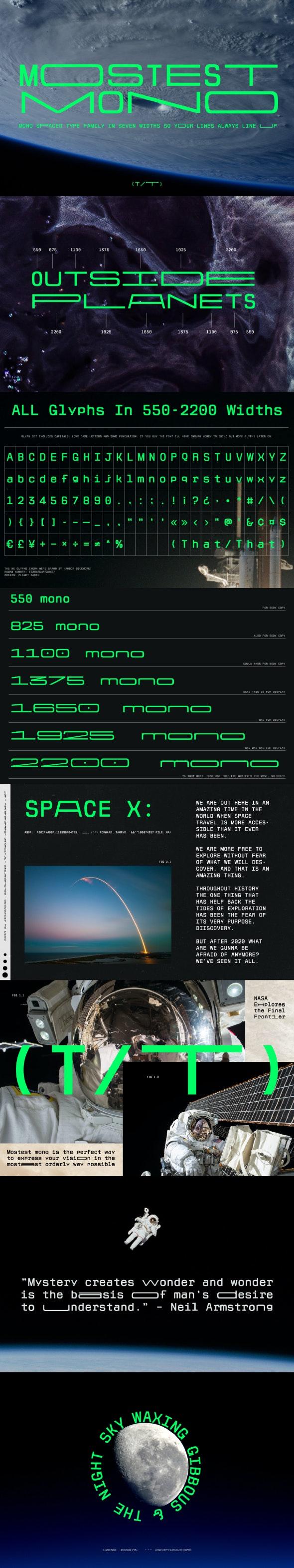 Mostest Mono monospaced Font family - Futuristic Decorative