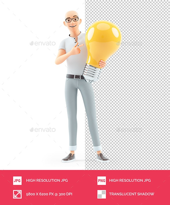 3D Senior Man Pointing at Big Light Bulb - Characters 3D Renders