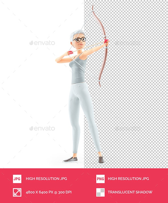 3D Senior Woman Aiming with Bow and Arrow - Characters 3D Renders