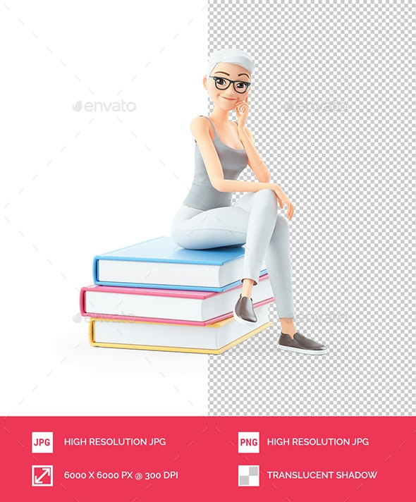 3D Senior Woman Sitting on Books - Characters 3D Renders